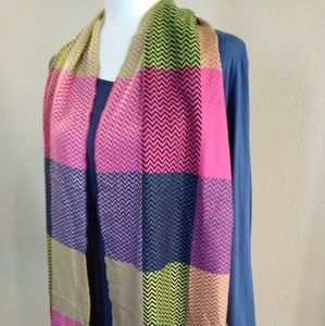 100% Cashmere Scarf Multi Color with Fringe